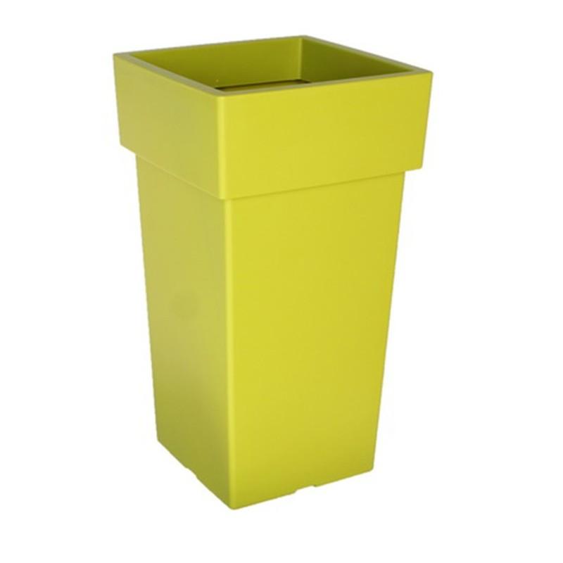 Γλάστρα Linea Ψηλή Τετράγωνη Κιτρινοπράσινη  21 Χ 21 Χ 38 cm